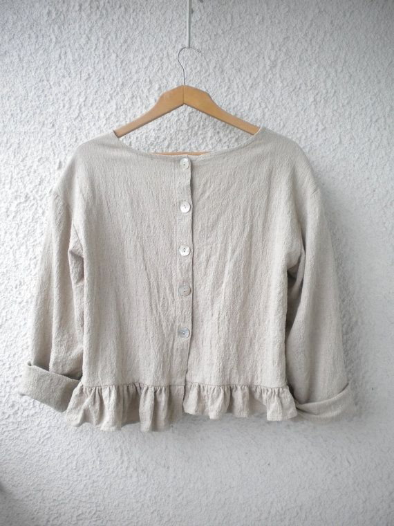 plus size linen top ruffle linen shirt loose by EcoFriendlyForU