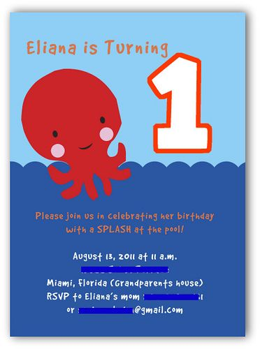 1st birthday party - under the sea themed invitations