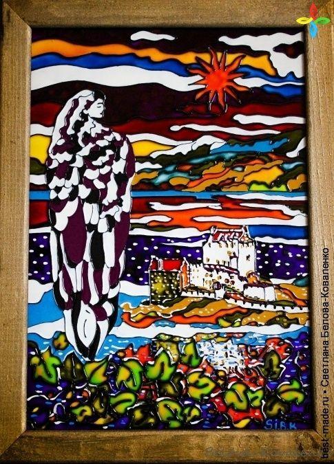 Sunset Angel , Краска витражная, Эмаль, Контур по стеклу   Bestmade - изделия ручной работы