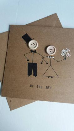 Wedding card  mr and mrs- marriage  wedding day- greetings card  kraft- buttons …