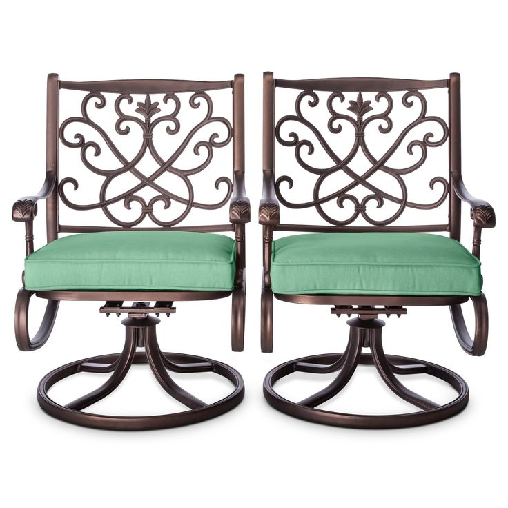 Folwell 2-pk. Cast Aluminum Swivel Dining Chairs Seafoam - Threshold, Green