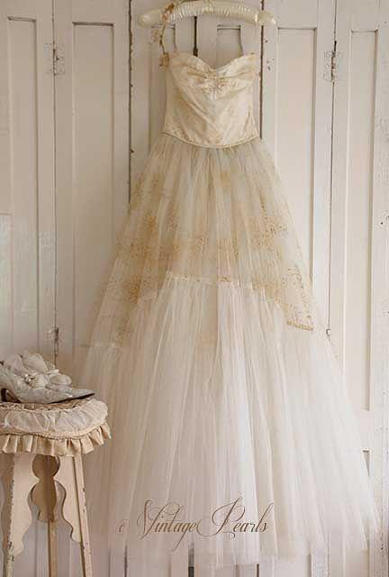 Vintage tule jurk beige/creme | Vintage Pearls