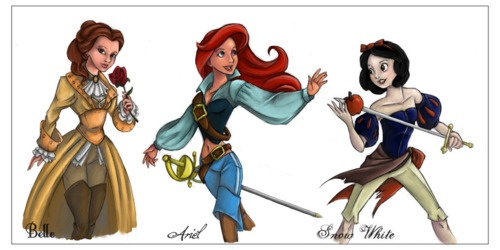 Warrior princesses. Love Ariel and Snow White's outfits!