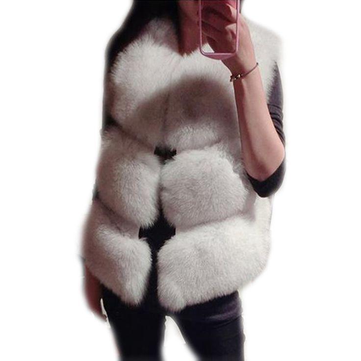 Купить товар2016 Европейских и Американских популярные Зимние Женские Из Искусственного Меха Жилеты женщины Меховая Куртка Дамы Пальто Белый Мех Лисы жилет Размер S XXXL в категории Мех натуральный и искусственныйна AliExpress.