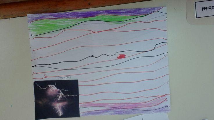 Realizar representaciones en papel sobre algún contenido en particular, como por ejemplo, lo percibido sobre los truenos y relámpagos, como se aprecia en la fotografía