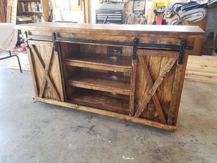 Rustic Media Cabinet / TV cabinet / Entry Cabinet with X sliding barn doors stained in Provincial created by The Trunk Trader - Dewey, AZ https://www.facebook.com/thetrunktrader/