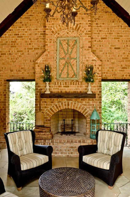 Warm Yourself by the Beautiful Brick Fireplaces at Home! : Captivating Conventional Porch With Traditional Brick Fireplaces Design With Wood...