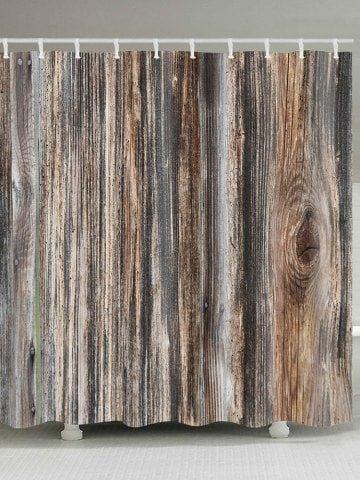 Wood Grain Print Water Repellent Shower Curtain
