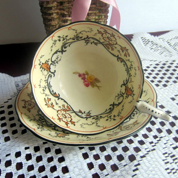 On Sale Free Shipping Coalport A571 with Hand Painted accents and Black details Bone China Tea Cup and Saucer - Made in England by LauriesFineChina on Etsy