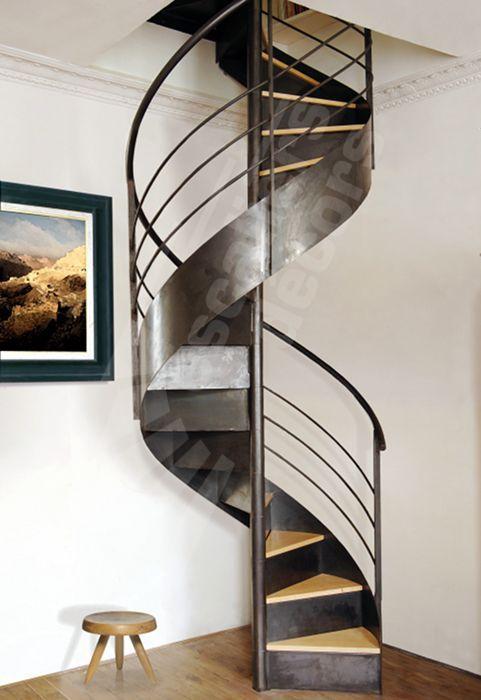 Escalier en colimaçon / structure en métal / marche en bois / à limon central DH37 ESCALIERS DECORS