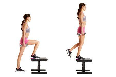 lunges_step-up_femme_dumbbells_cellulite_perte de poids_entrainement_exercices