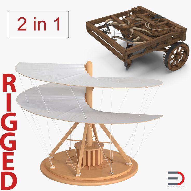 Leonardo da Vinci Rigged Vehicles Collection 3D model