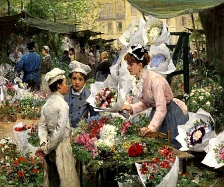 The Flower Market  ~ Victor Gabriel Gilbert (French, 1847-1935)