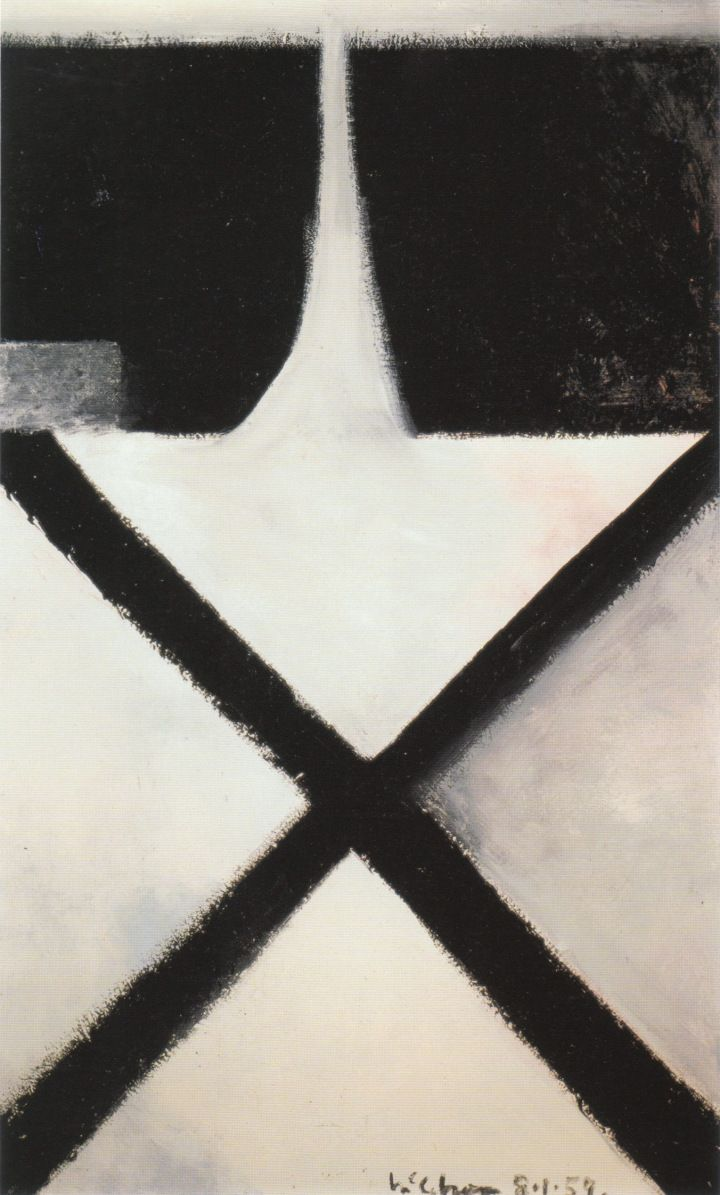 Colin McCahon, Cross, 1959, Enamel on hardboard, 121.9 x 76.2 cm.
