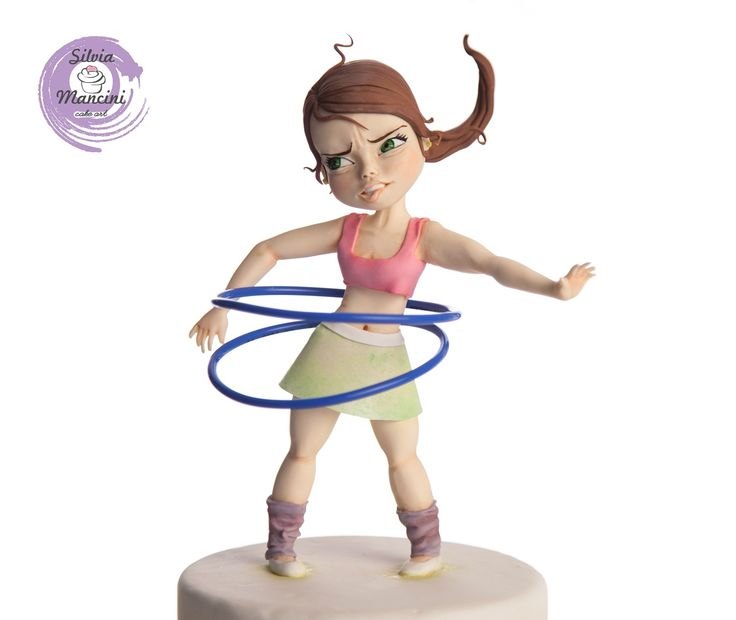 cake topper - hula hoop girl