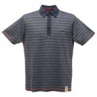 £12.99 - Regatta Mens Outlook Polo Top Navy  This easy to wear striped polo shirt is perfect for days out enjoying the sun. 85% cotton/15% polyester striped flat knit. Self fabric collar