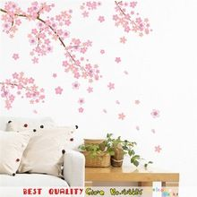 Roze Kersenbloesems Boom Muurstickers Home Decoratie Huis Ornamenten, romantische Thuis Decal Muursticker Muurschilderingen Kamer Decor(China (Mainland))