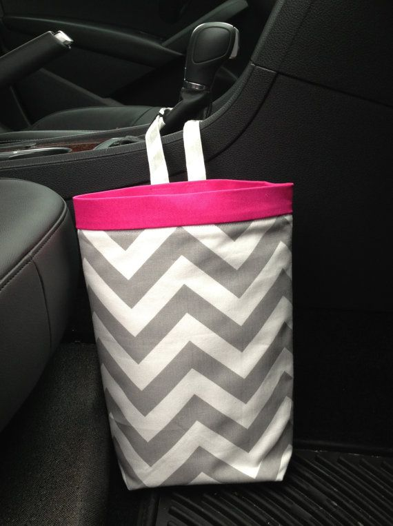 Hey, I found this really awesome Etsy listing at http://www.etsy.com/listing/118955818/car-trash-bag-chevron-gray-with-pink