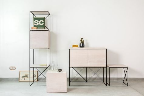 Modules is a modular furniture system combining steel and plywood, designed for Blatobran gallery by Belgrade based architectural practice AUTORI.