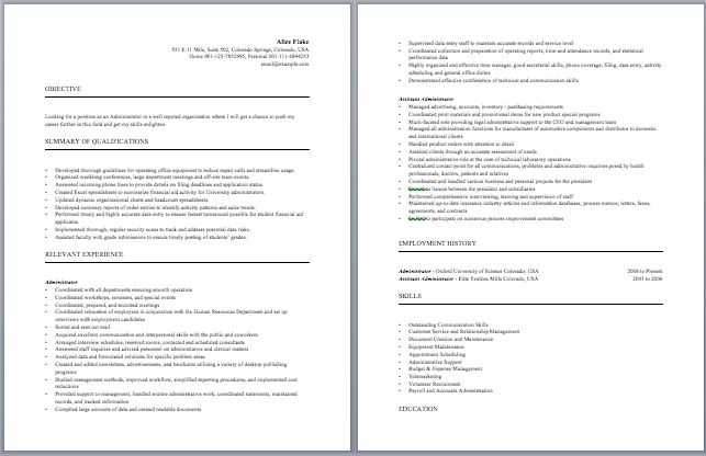 Business Administration Resume Administrative Resume Samples - cognos fresher resume