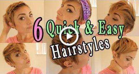 6 coiffures rapides et faciles pour cheveux courts / Pixie! RETOUR À L'ÉCOLE - #cheveux #coiffures #courts #faciles #pixie