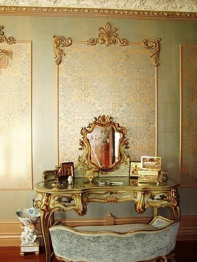 Fabric Damask Stencil paired with Beaux-Artes' Louis XIV wall panels | Royal Design Studio