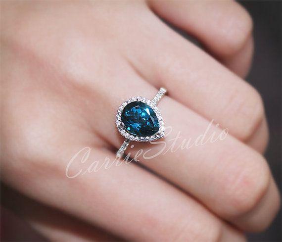 PEAR Londres naturel topaze bleue bague bague de fiançailles / mariage bague 925 argent Sterling bague or blanc plaqué anniversaire Ring