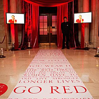 The red carpet leading to the entryway was replaced with a strip of wording spelling out the campaign's mission.