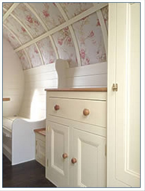 great way to hide a lot of sins for a vintage trailer interior. This is a wonderful way to hide an ugly ceiling ~ also to add some insulation to it!: