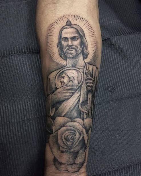 San Judas tattoo   Reference   Saint tattoo, Sleeve tattoos, Tattoos