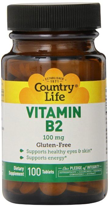 Regular Price: $13.39 | Country Life Vitamin B-2 100 Mg   All B vitamins help the body to convert food (carbohydrates) into fuel (glucose), which is used to produce energy.  B complex vitamins are necessary for a healthy liver, skin, hair, and eyes. They also help the nervous system function properly.