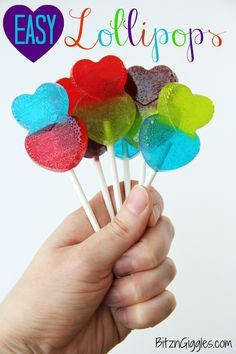 Easy Lollipops - Use your creativity and have fun making these easy 1-ingredient lollipops! These are great for birthday parties, bake sales, Valentine's Day, weddings and other special occasions!!