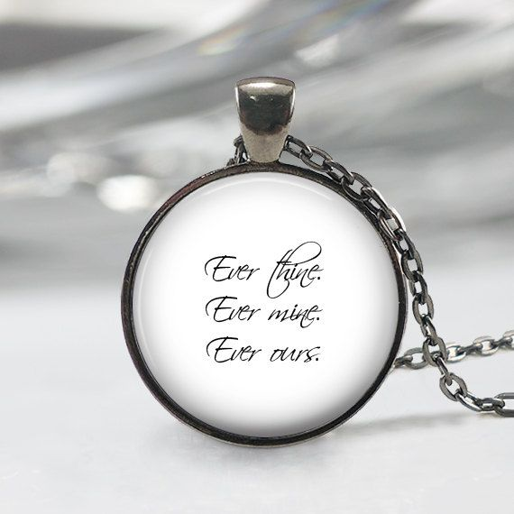 Ever Thine, Ever Mine, Ever Ours Necklace, Love Quote Pendent, Poem Letter Jewelry on Etsy, $12.95