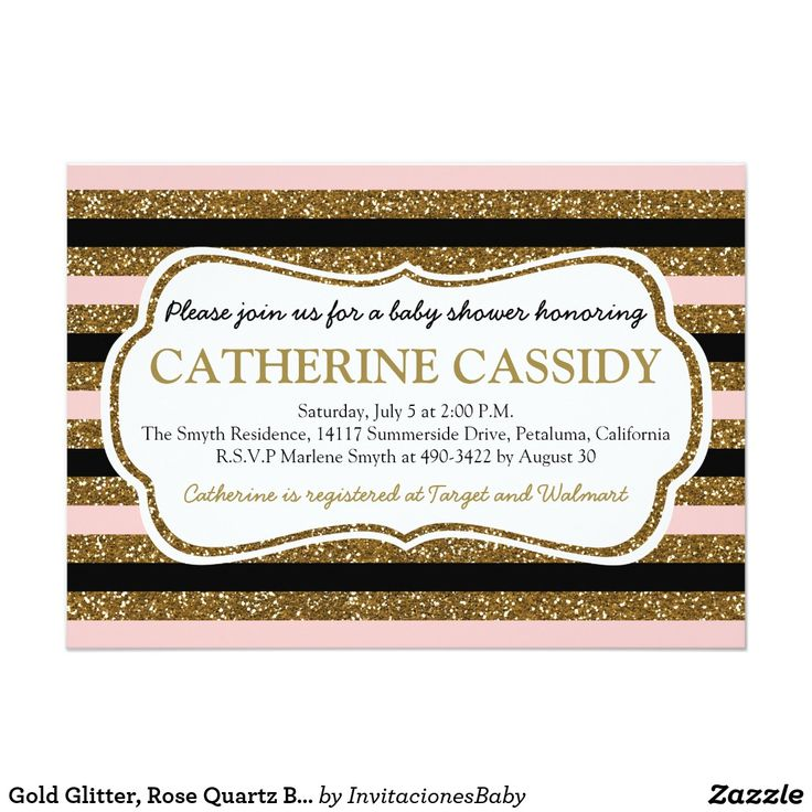 Gold Glitter, Rose Quartz Baby Shower Invitation