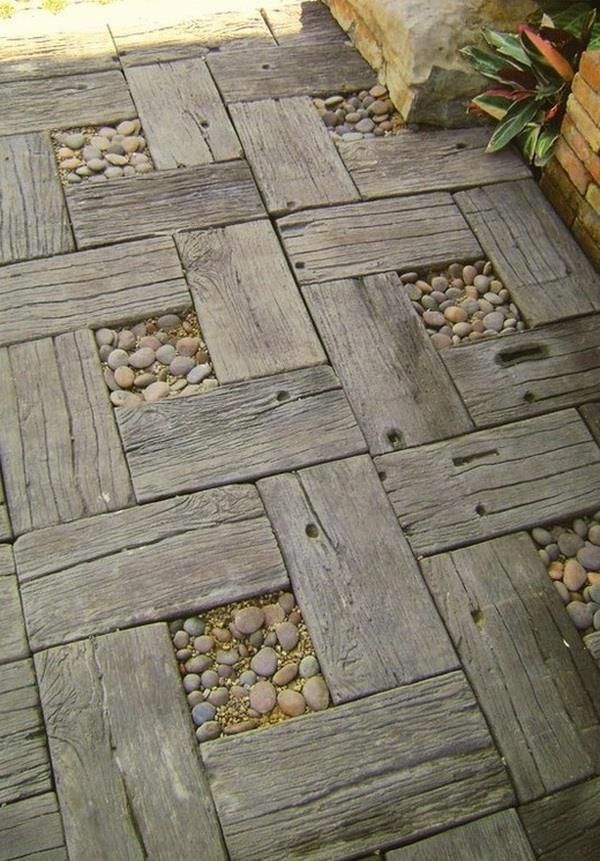 DIY Idea - Use recycled timber and pebbles to make a rustic garden path.