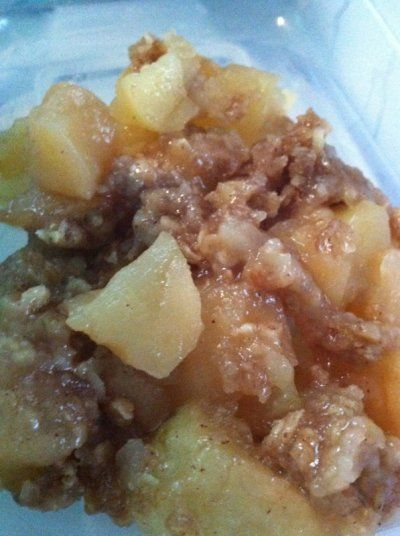 CrockPot Apple Crisp ~ 11/6/2013 ~ Really nice to serve when oven is filled.  I used reg oatmeal instead of instant.