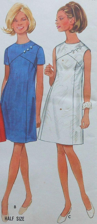 Mitad de verano sin mangas vestido coser patrón sin cortar tamaño 20.5 Butterick 4970 vintage