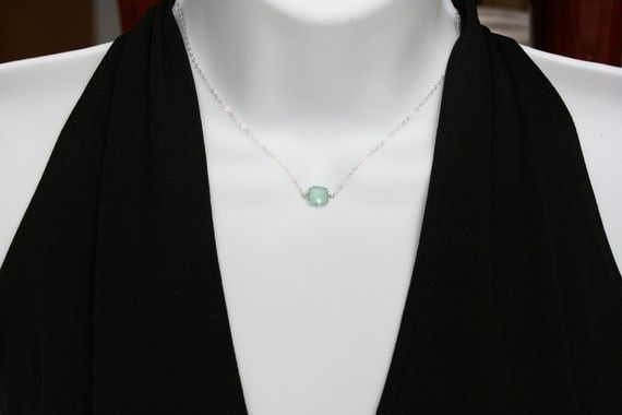 Petite Teal Crystal Necklace Sterling Silver simple by untie