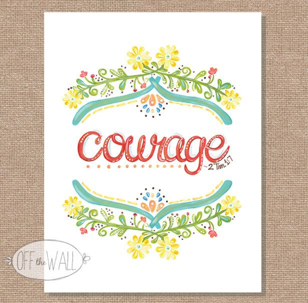 Floral COURAGE Scripture -Red - Wall Art - Hand-Painted Home Decor - Scripture Illustration - Baby Nursery - Shower - Fathers Day Gift by OffTheWallHome on Etsy https://www.etsy.com/listing/165718693/floral-courage-scripture-red-wall-art