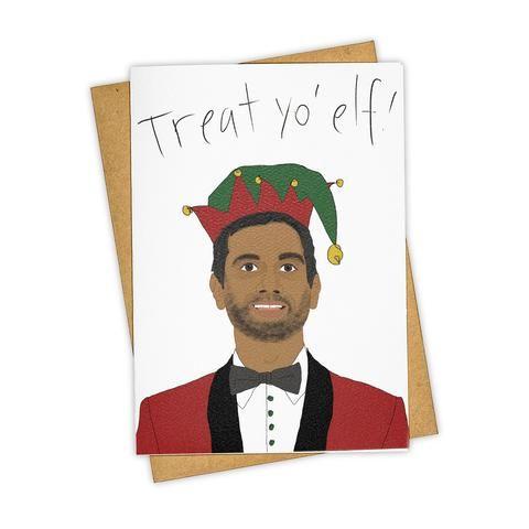 TAY HAM Aziz Ansara Treat Yo Self Parks and Rec Christmas Card