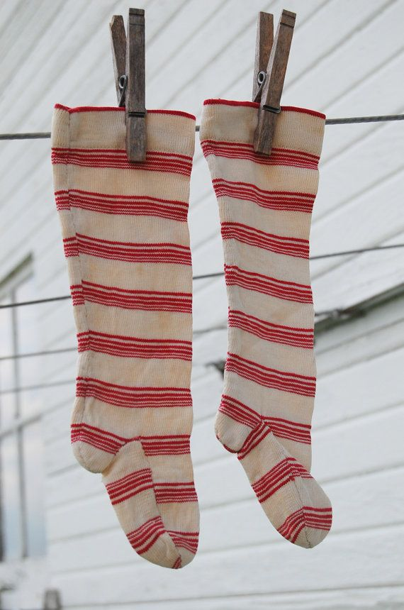 FREE SHIPPING-  Swedish Socks Red and White Antique  Christmas by theprimitivehome, $74.56