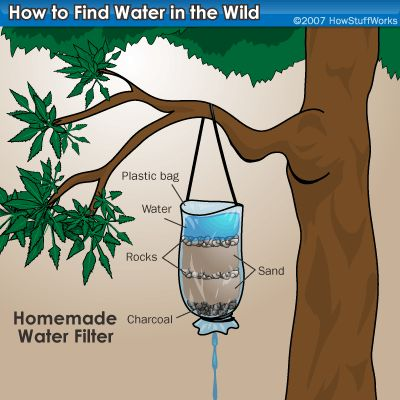 How to find & filter water in the wild. Note that you will still need to use your water purification tablets to make sure any bacteria in the water is taken care of before drinking.