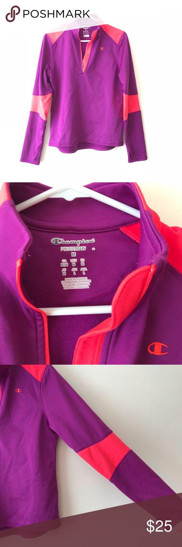 Champion purple and coral power train zip up Size medium In great condition Vibrant color combination perfect for coming spring! Champion Tops Sweatshirts & Hoodies