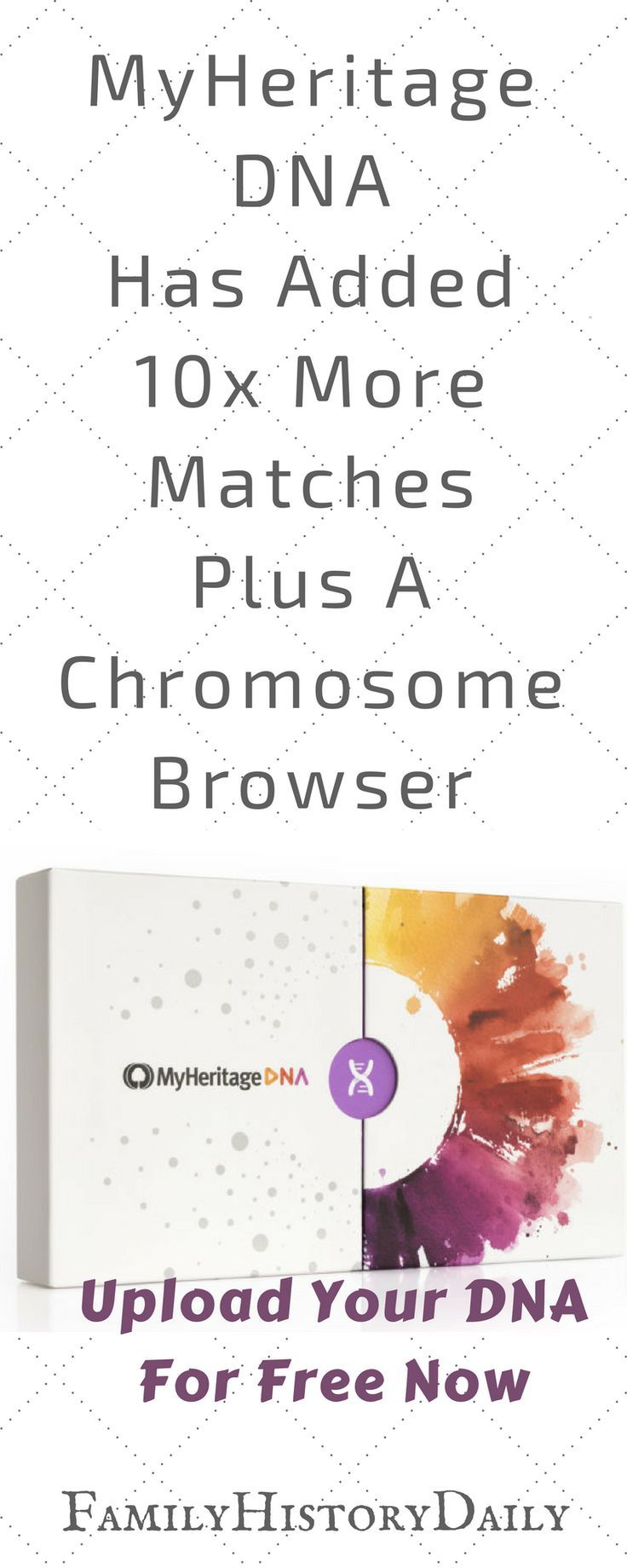 MyHeritage DNA has added 10x more matches and a chromosome browser. Upload your DNA data for free right now and make the most of your ancestry DNA test. #genealogydna #freegenealogy #familyhistory #ancestry