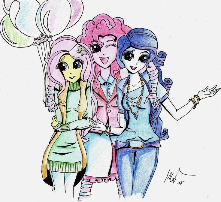 Fluttershy, Pinkie Pie and Rarity as I imagine them!