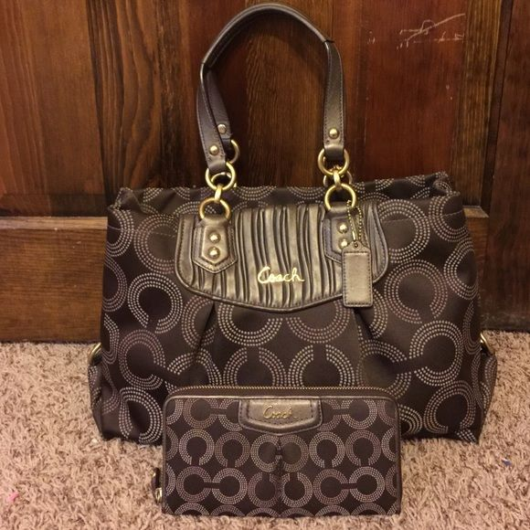 Authentic Coach Handbag & matching wallet They are used but in great condition. No scratches, rips, or flaws. All hardware is still perfect. Coach care instructions included. Any questions please don't hesitate to ask. Coach Bags