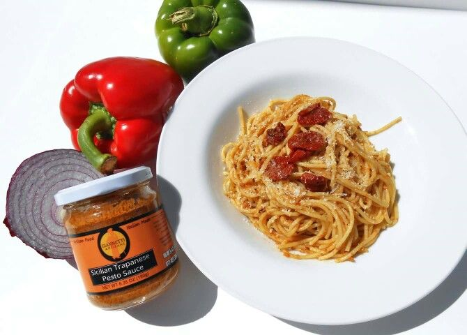 Our Sicilian Trapanese Pasta Sauce is an example of what makes Sicilian ingredients unique. The Trapanese sauce is a typical Sicilian tradition from the area of Trapani. High quality ingredients are selected from their place of origin with great attention in order to create a recipe that has excellence as its base. CHECK US OUT: WWW.GIANNETTIARTISANS.COM