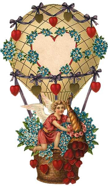 Free Vintage Graphic Valentine Hot Air Ballon