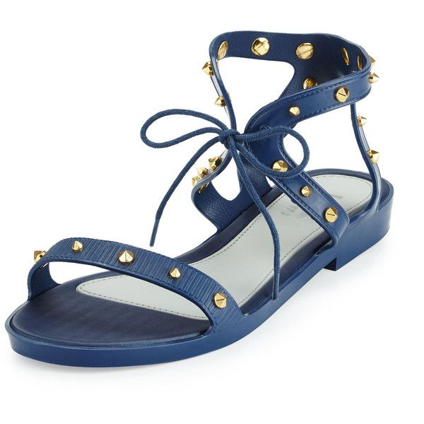 Melissa Shoes Artemis III Studded Sandal ($36) ❤ liked on Polyvore featuring shoes, sandals, navy, open toe flats, navy flat shoes, navy shoes, navy blue sandals and navy blue flats