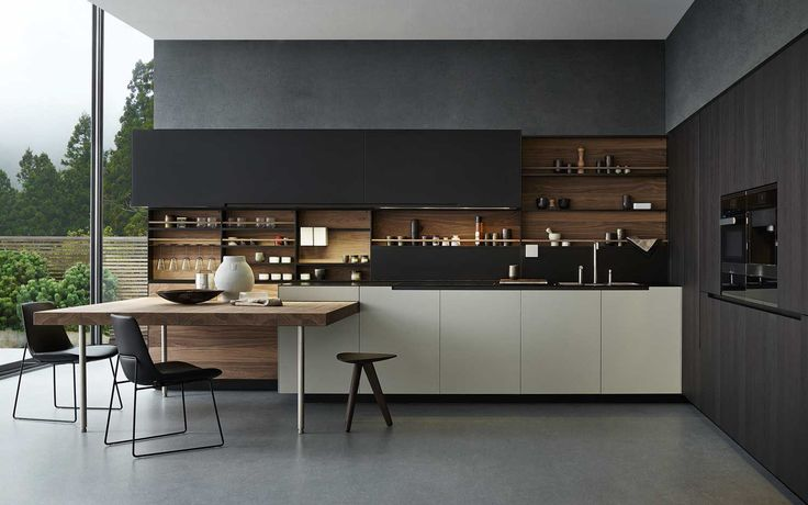 Stunning shelving with timber backing and integrated dining table.